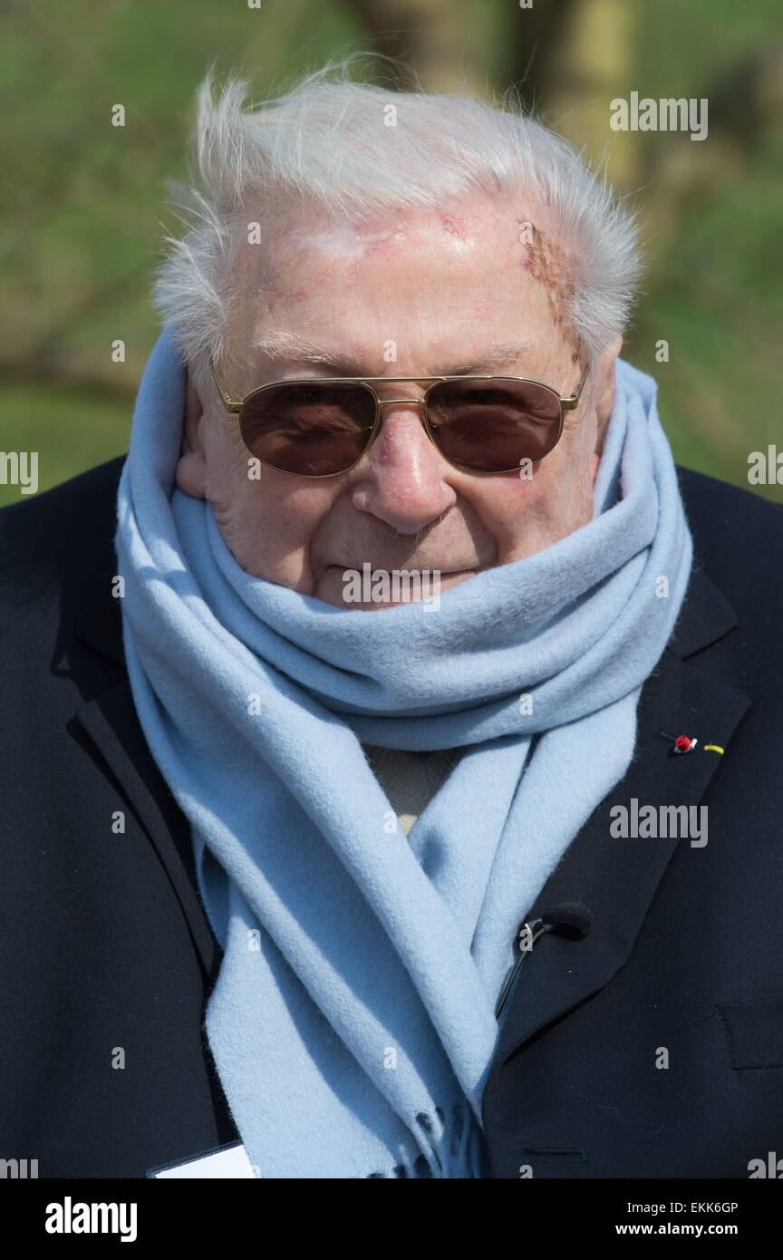 Weimar, Germany. 11th Apr, 2015. French former prisoner of Buchenwald concentration camp and chairman of the Haeftlingsbeirat - Stock Image