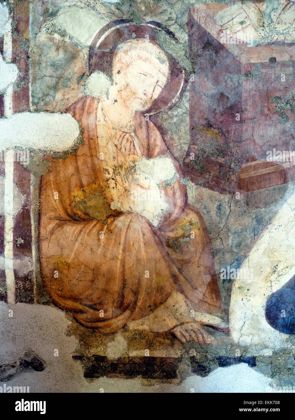 Nativity  (detail) by unknown author 14th century  tempera on plaster Caetani castle in the medieval town of Sermoneta - Stock Image