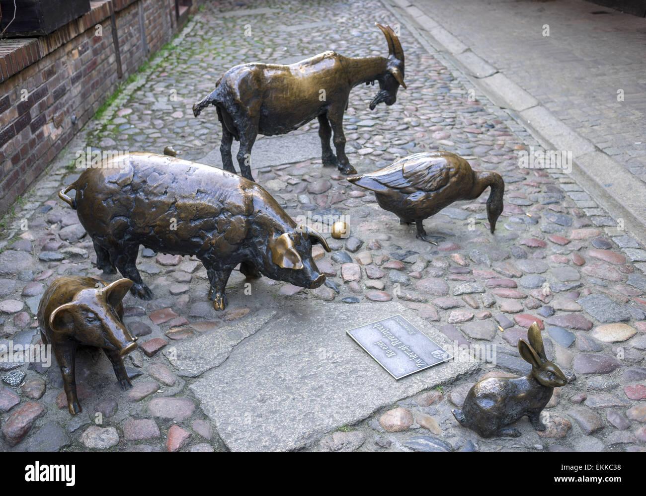 Monument to commemorate slaughtered farm animals Jatki Wroclaw Poland - Stock Image
