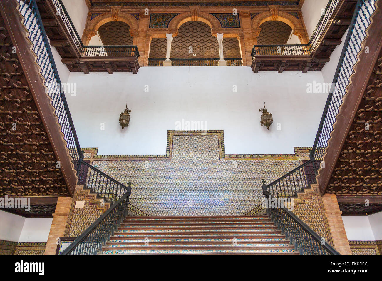 Saville, Spain. Old Spanish Renaissance Revival staircase made of marble and wood. - Stock Image