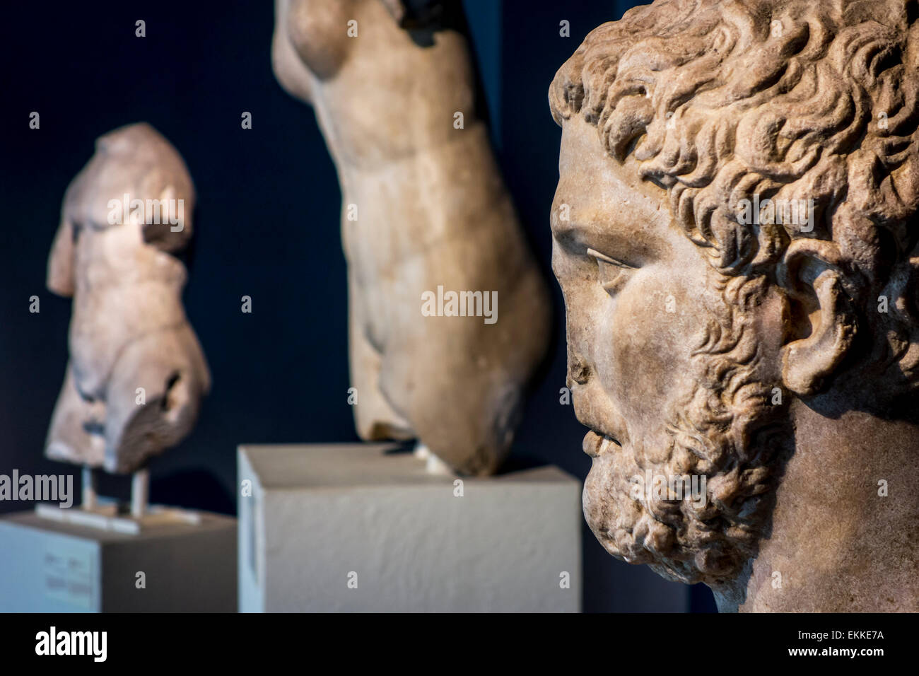Marble bust of Pythagoras of Samos, Ionian Greek philosopher and mathematician in the Cinquantenaire Museum in Brussels, - Stock Image