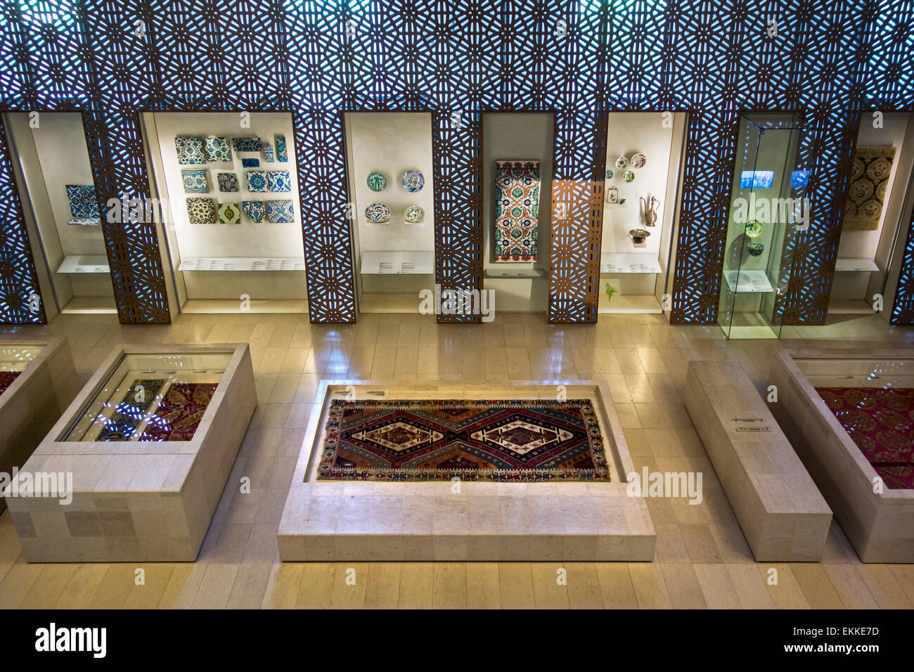Carpets from the Islamic world in the Cinquantenaire Museum / Jubelparkmuseum in Brussels, Belgium - Stock Image