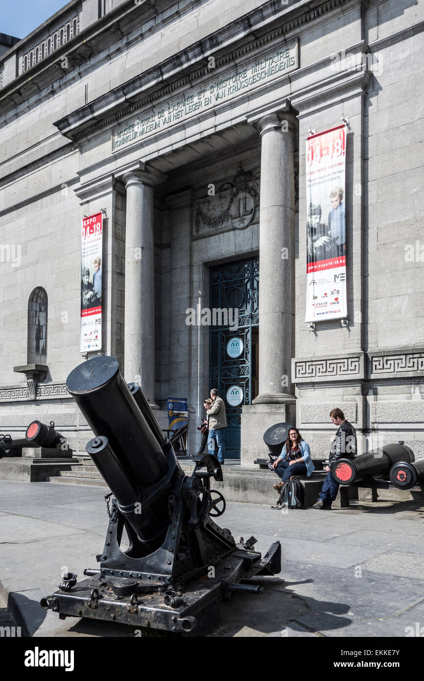 Entrance of the Royal Museum of the Armed Forces and Military History in Brussels, Belgium - Stock Image