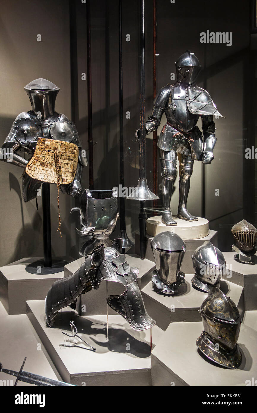 Medieval suits of armour, bascinets and horse's champron, Royal Museum of the Army and of Military History, - Stock Image