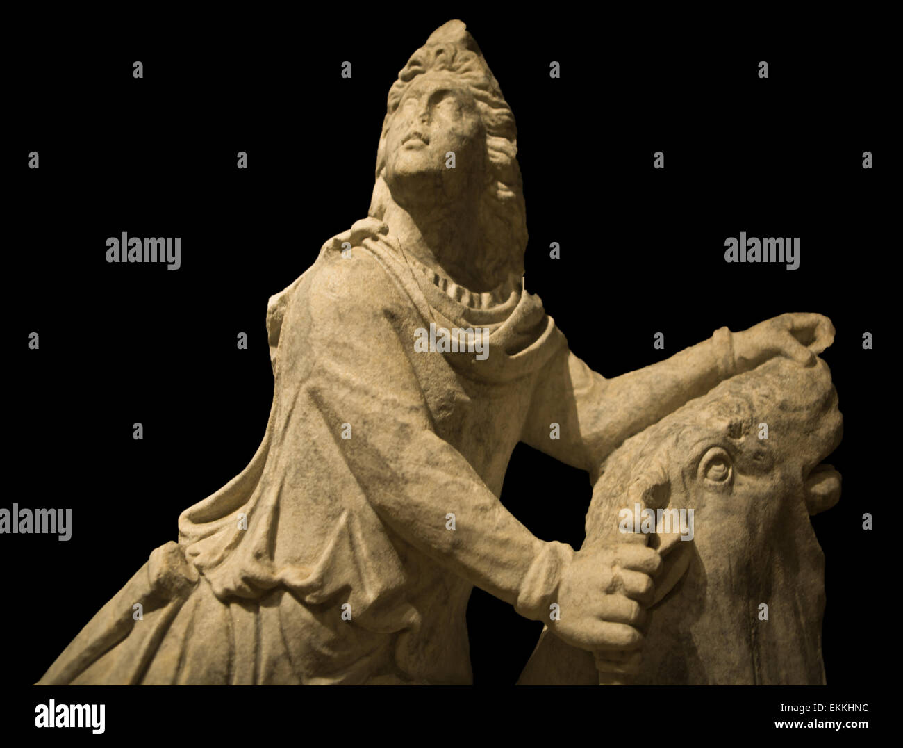 Marble sculpture of roman mythological deity Mithras - Stock Image
