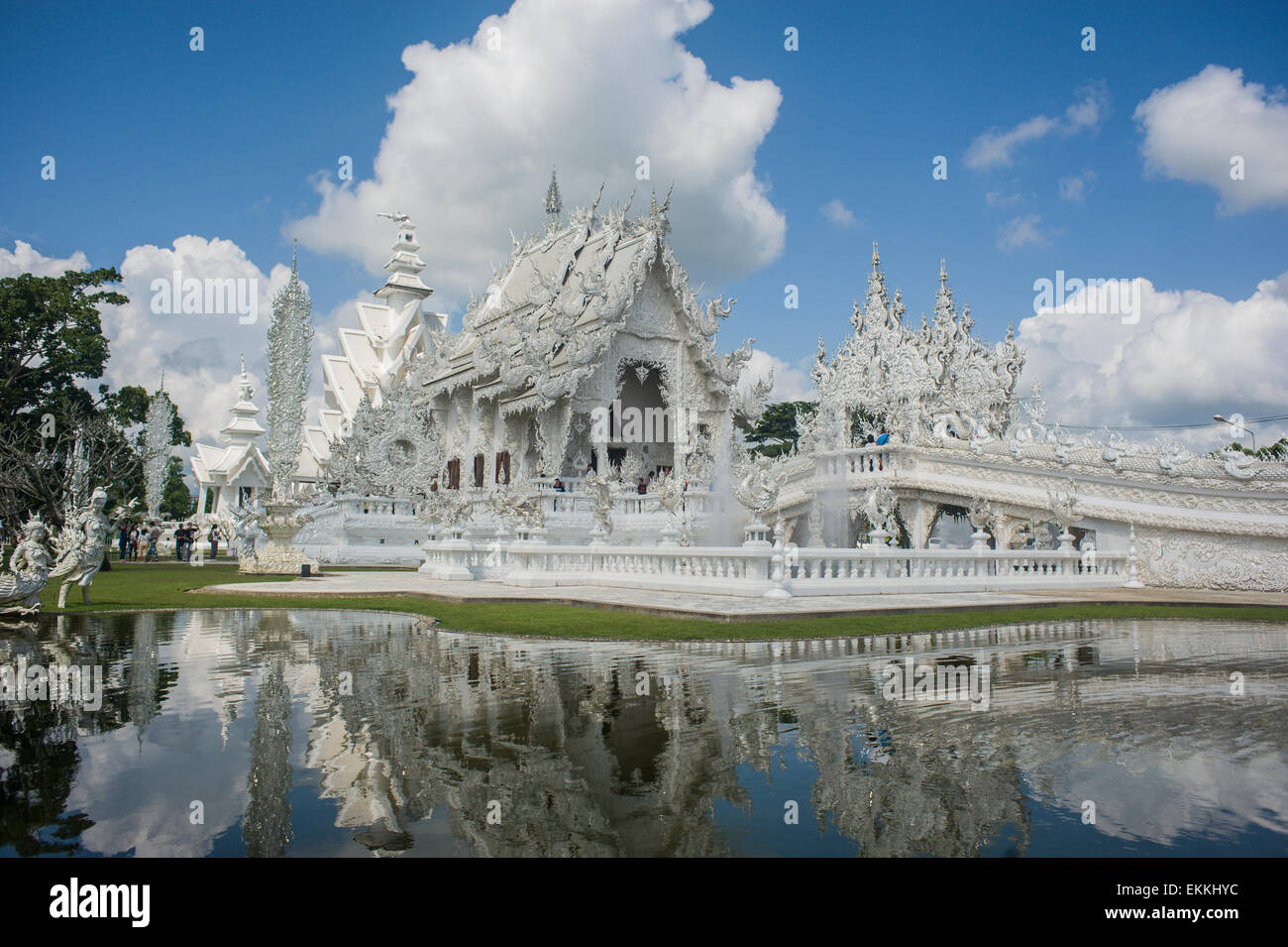 Wat Rong Khun better known to foreigners as the White Temple, is a contemporary Art Exhibit in the form of a Buddhist Stock Photo