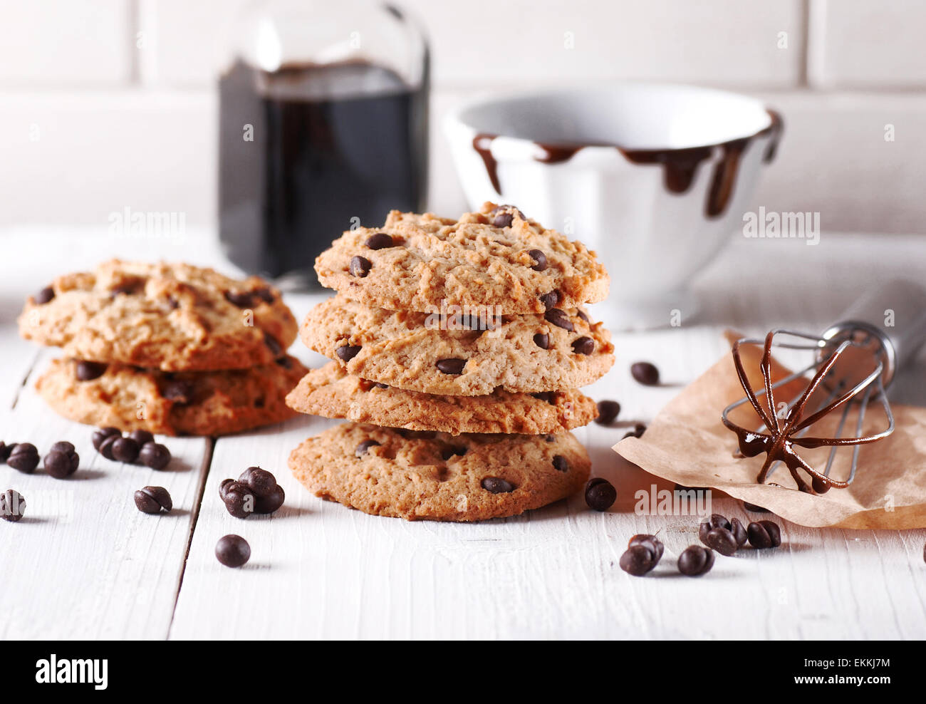 chocolate cookies with ingredients around - Stock Image