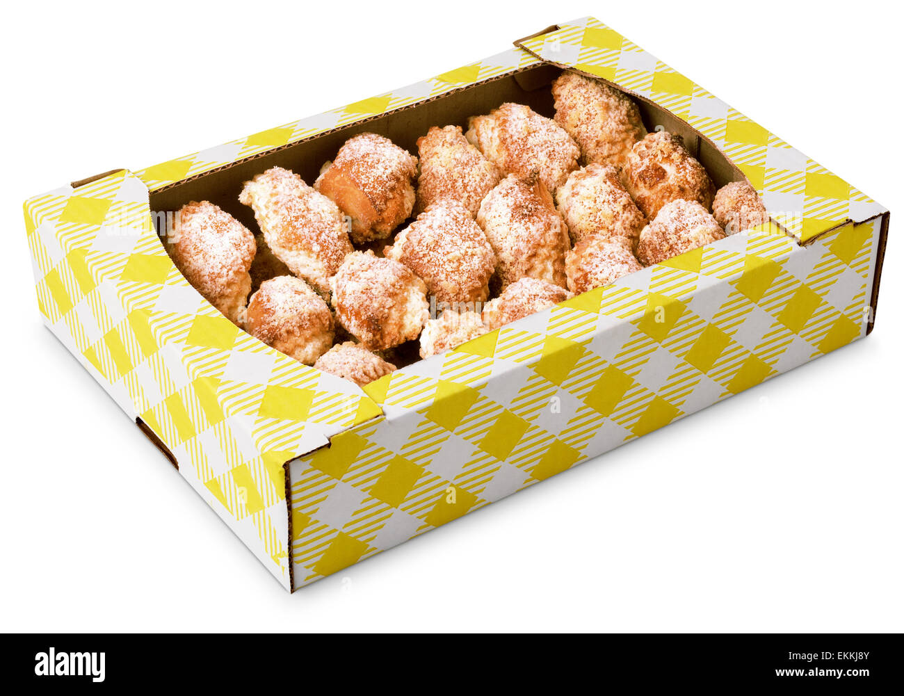 pile of cookies in a cardboard box isolated on white background - Stock Image