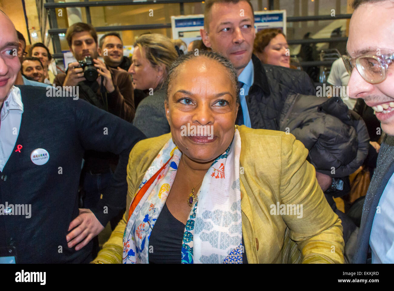 """Paris, France. LGBT Trade Show, """"Prin-temps des Associations"""", with Christiane Taubira, ex-French Minster of Justice, Stock Photo"""
