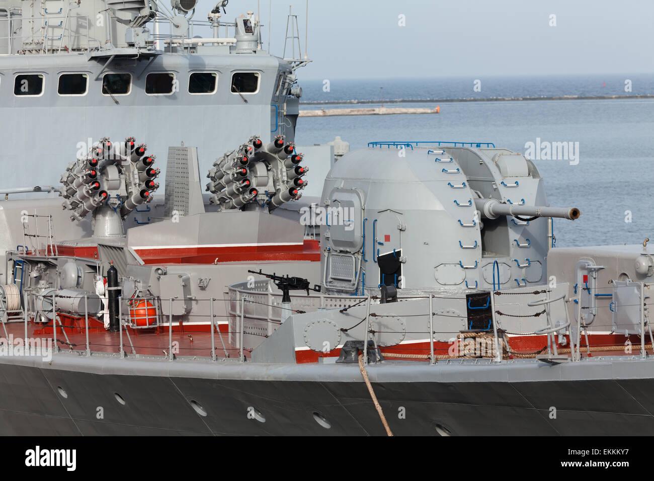 warship cannon - Stock Image