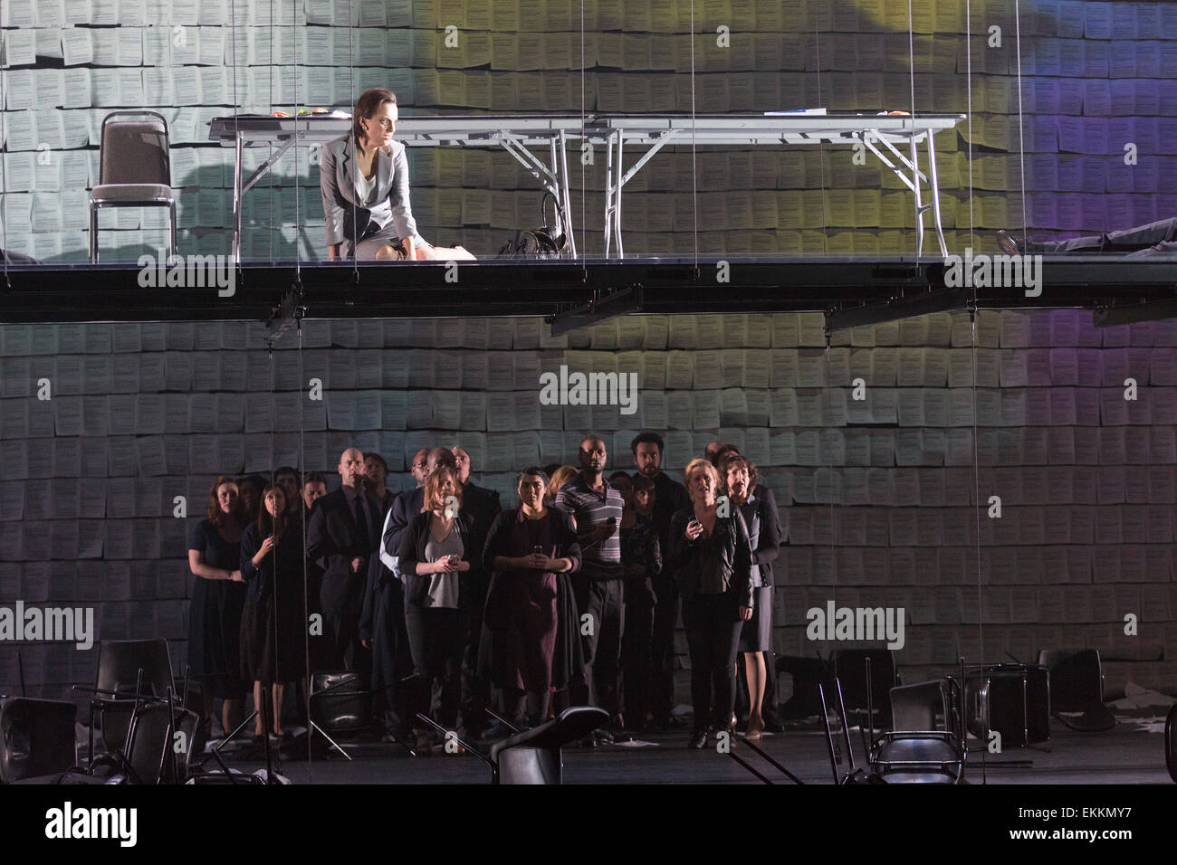 Clare Presland as Realtor at the top. Deborah Warner directs the world premiere of Tansy Davies's first opera - Stock Image