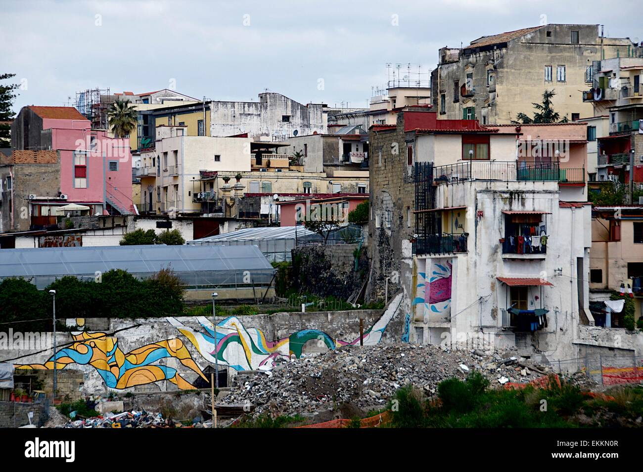 Homes in Ercolano, a poor suburb of Naples, Italy showing living conditions and poverty - Stock Image