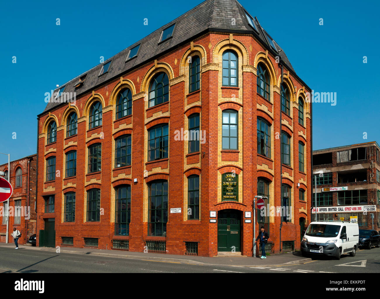 The John Swift building (1914), a former fruit merchant's warehouse (now offices), Northern Quarter, Manchester, - Stock Image