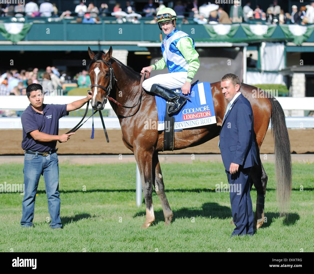 Lexington, KY, USA. 11th Apr, 2015. Divining Rod and jockey Julien Leparoux win the Coolmore Lexington at Keeneland Stock Photo