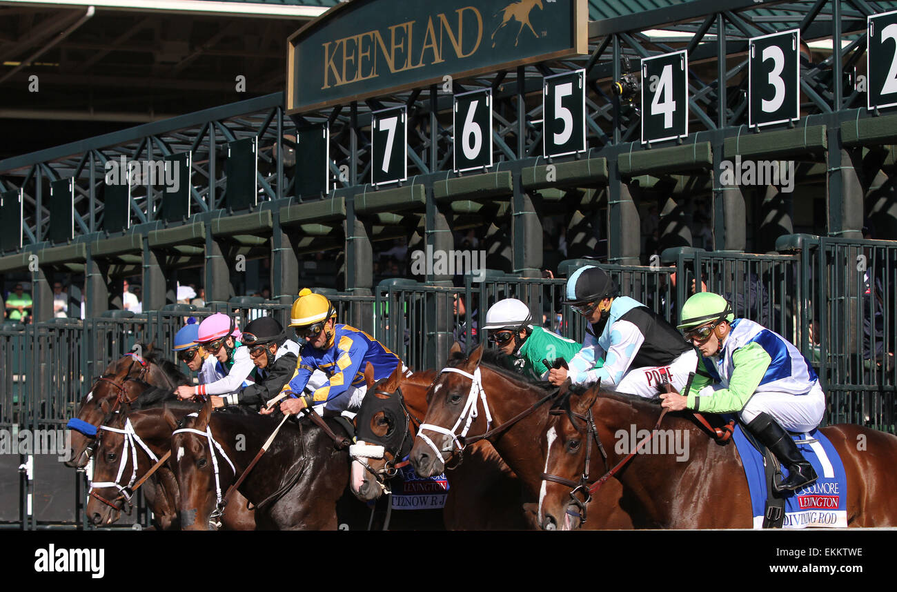 Lexington, KY, USA. 12th Apr, 2015. April 11, 2015: Divining Rod and Julien Leparoux win the 34th running of The Stock Photo