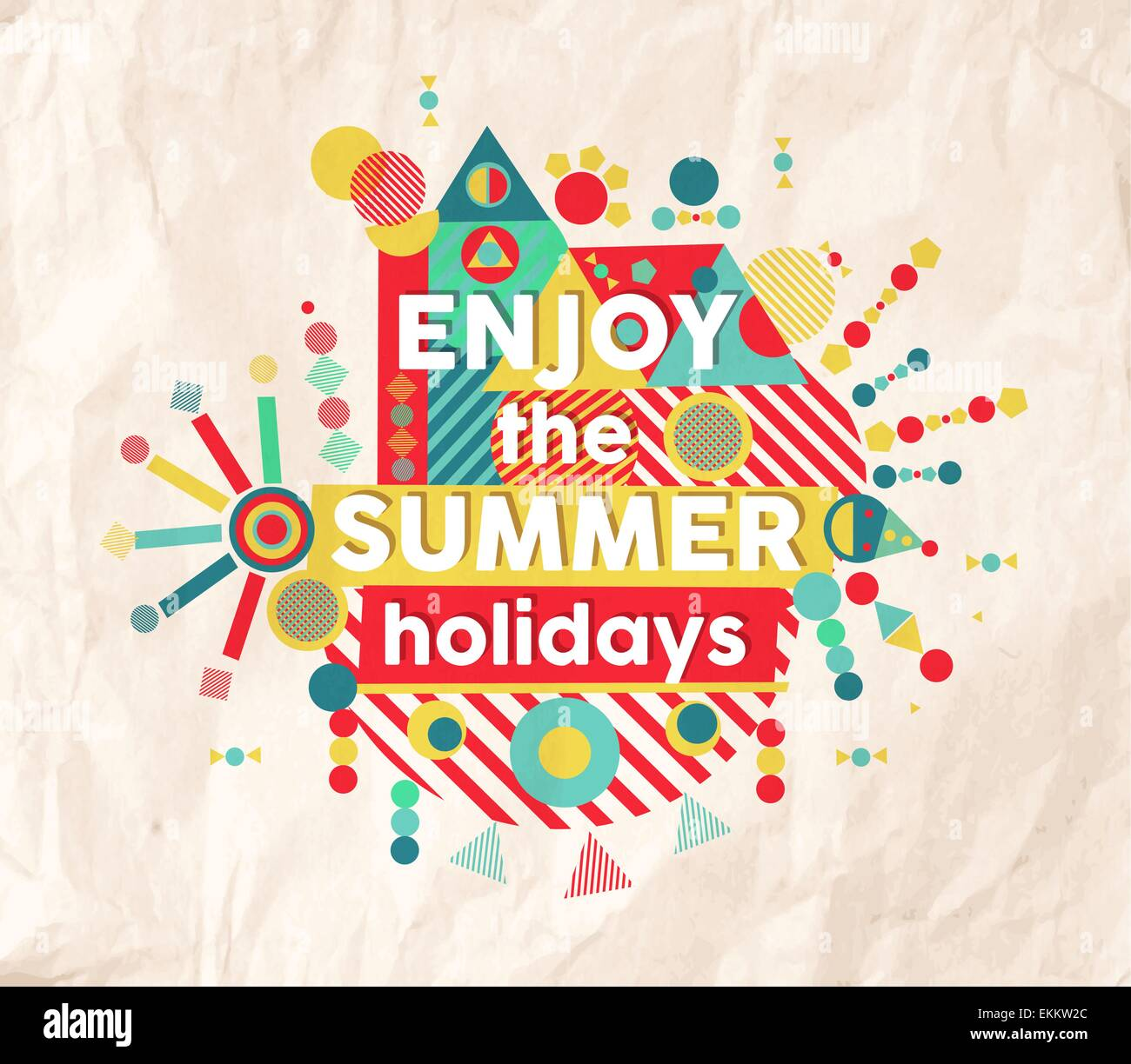 Enjoy The Summer Holidays Colorful Typography Poster Fun