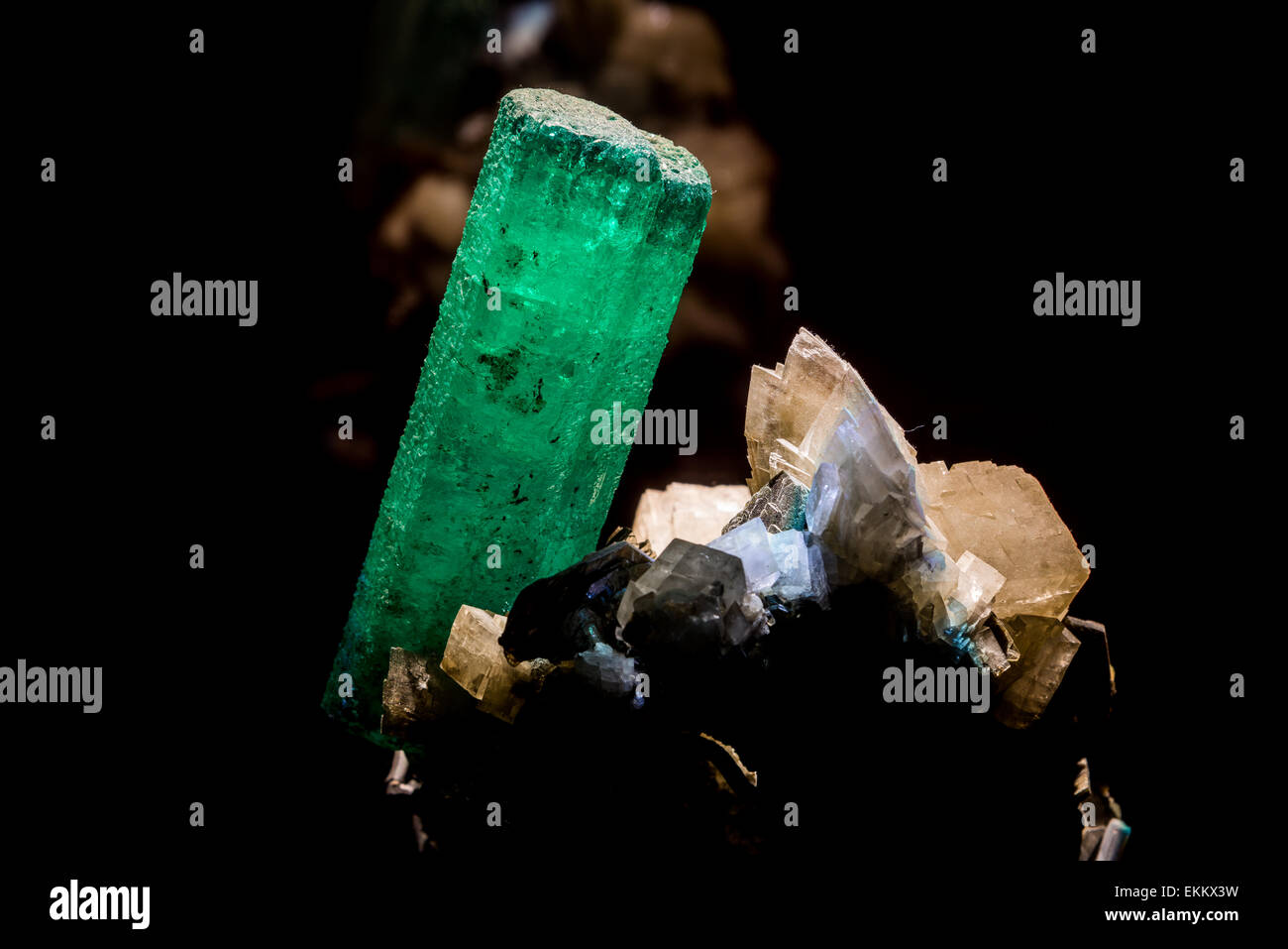 Emerald, a bright green colored variety of mineral Beryl. - Stock Image