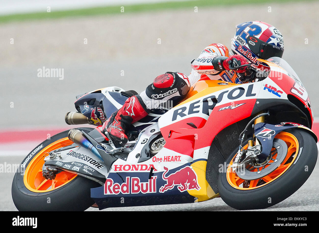 Austin Texas USA 11th April 2015 MotoGP Marc Marquez 93 With Repsol Honda Team In Action At Red Bull Grand Prix Of The Americas