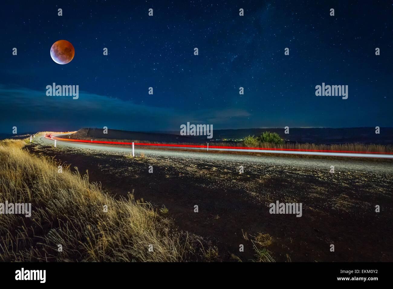 Lunar Eclipse - Australia, 2015 Stock Photo
