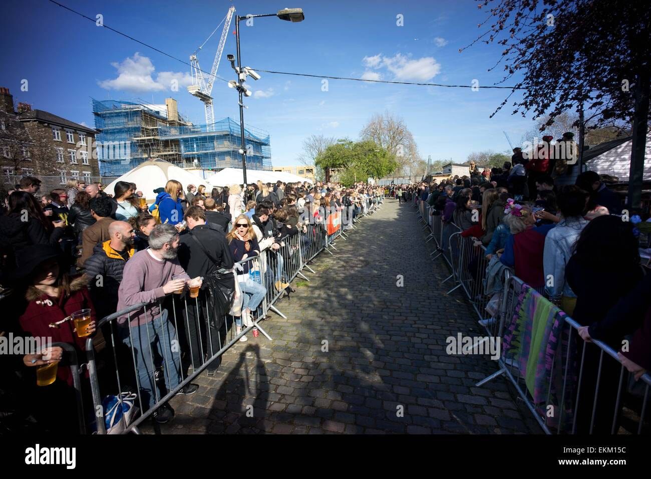 London, United Kingdom. 11th Apr, 2015. Both side of the race track were filled with spectators. Annual goat racing - Stock Image