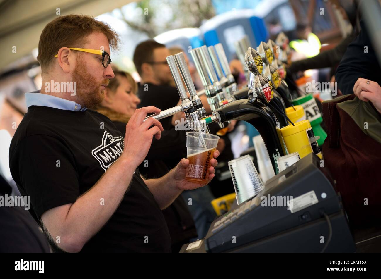 London, United Kingdom. 11th Apr, 2015. Refreshments are being severed at the venue. Annual goat racing event hosted - Stock Image