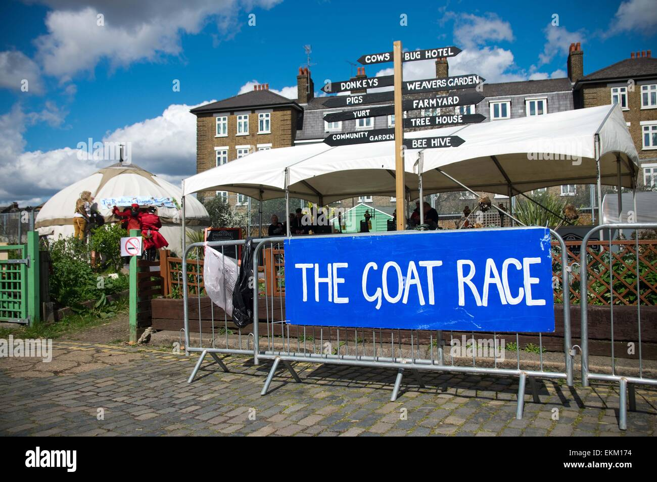 London, United Kingdom. 11th Apr, 2015. Annual goat racing event hosted at Spitalfield Farm in London. Credit:  - Stock Image