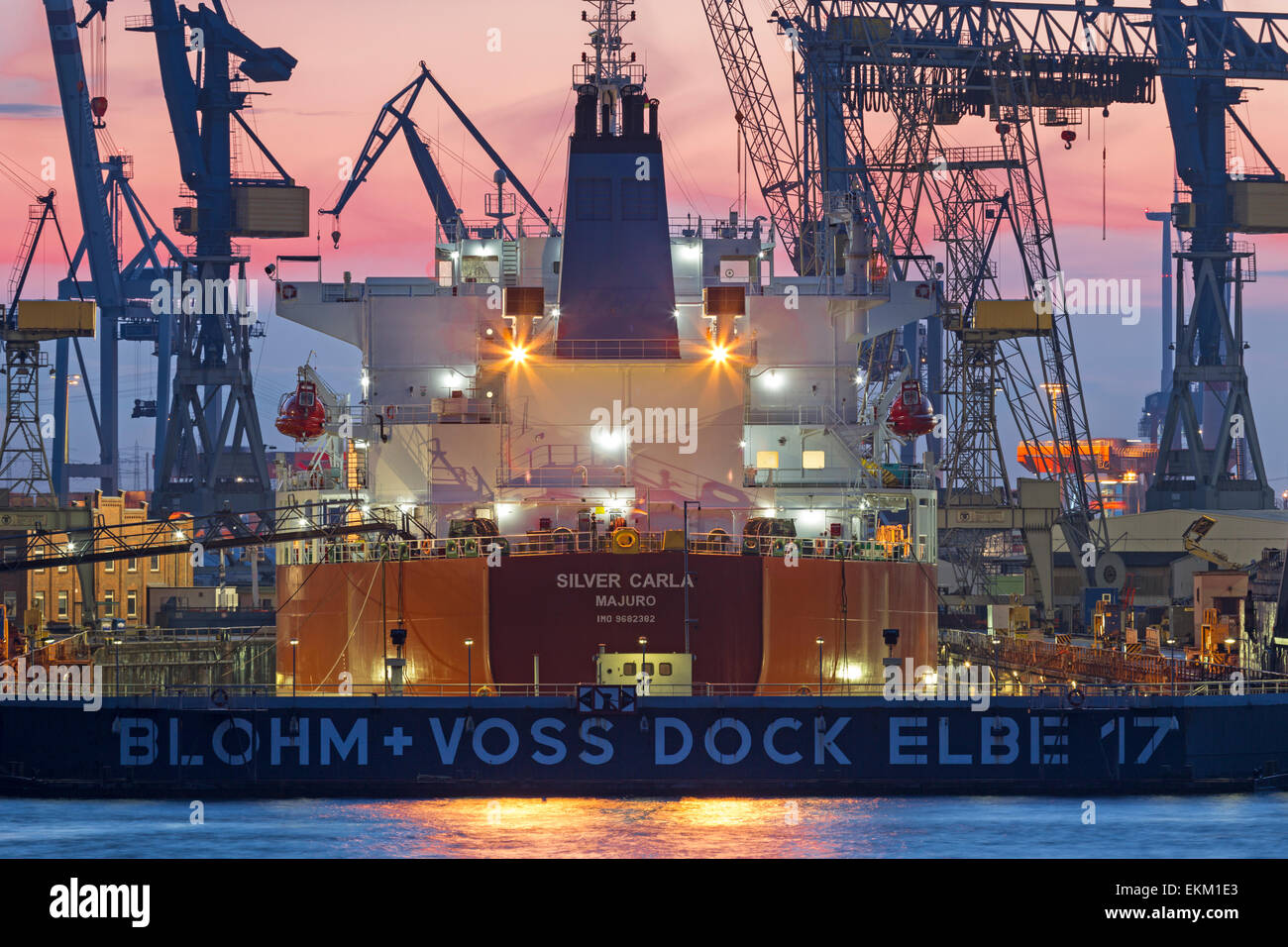 Tanker in a dry dock Blohm and Voss in the port Hamburg, Hamburg, Germany, Europe - Stock Image
