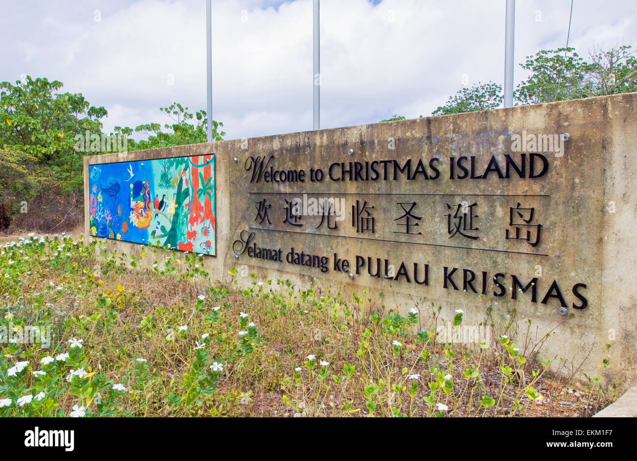 Christmas Island Australia.Welcome Sign Outside The Airport At Christmas Island