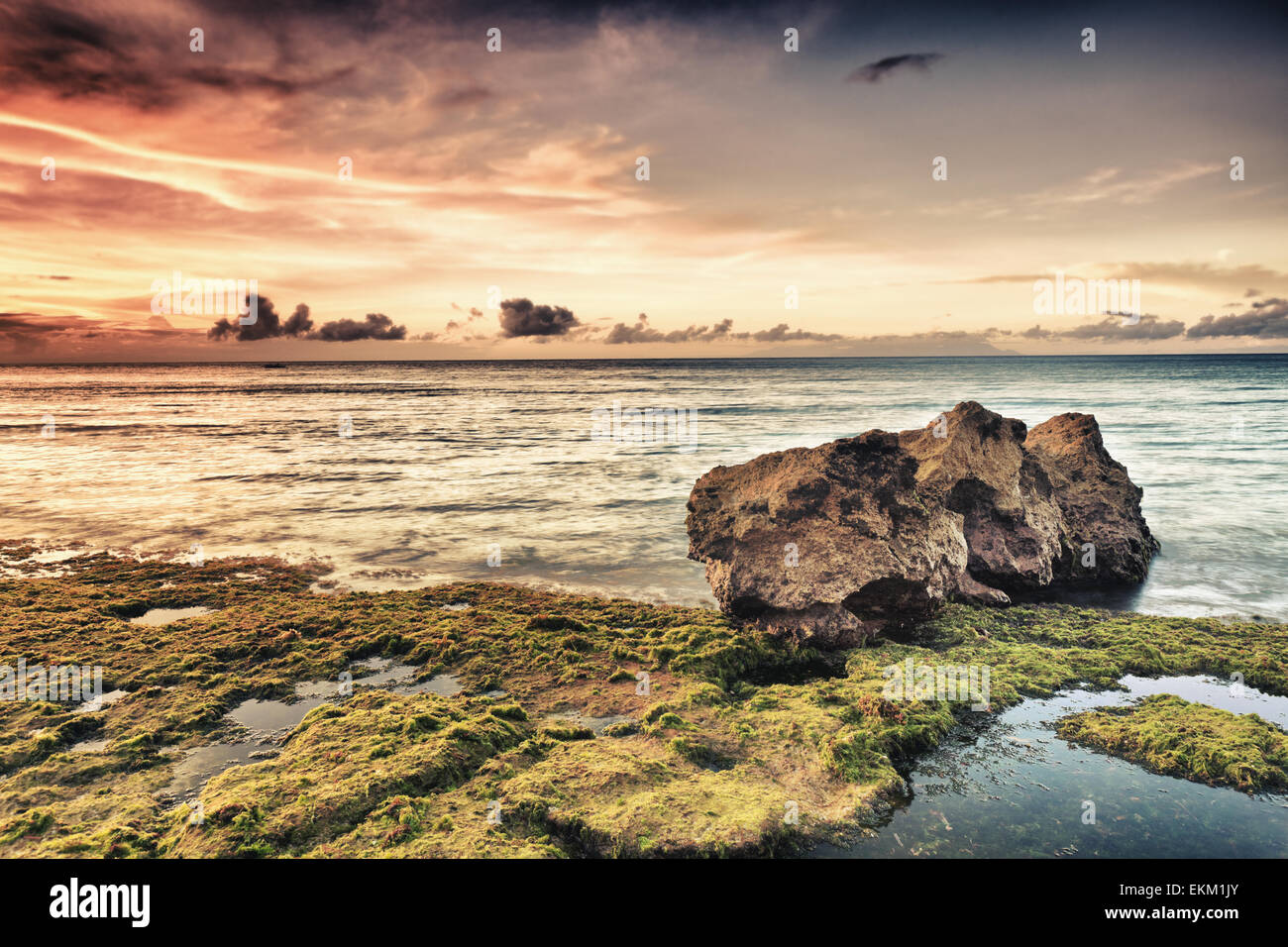 Beautiful seascape. Stone on the foreground. Philippines Stock Photo
