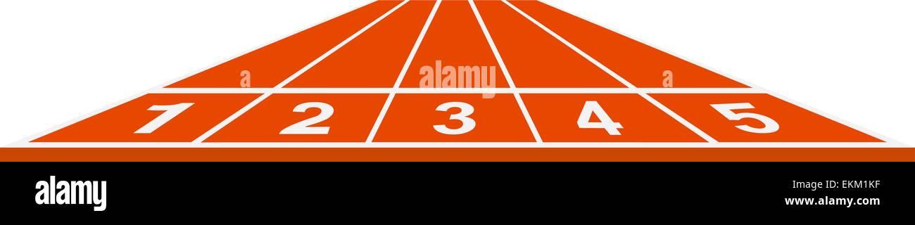 Running track, start position in orange design Stock Vector