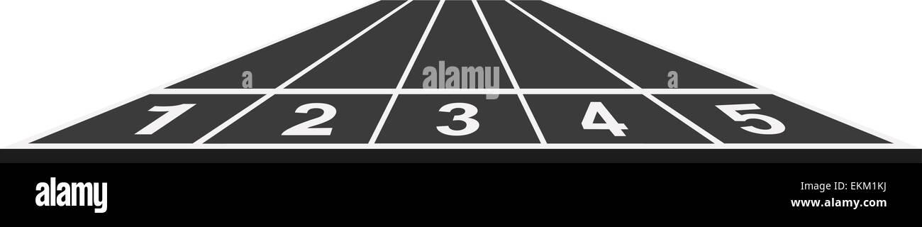 Running track, start position in black design Stock Vector