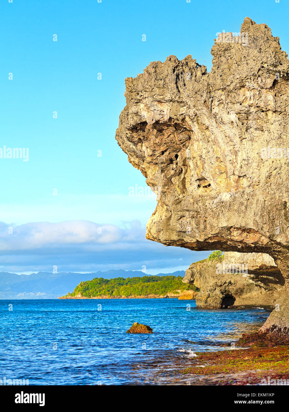 Beautiful seascape. Stone on the foreground. Philippines - Stock Image