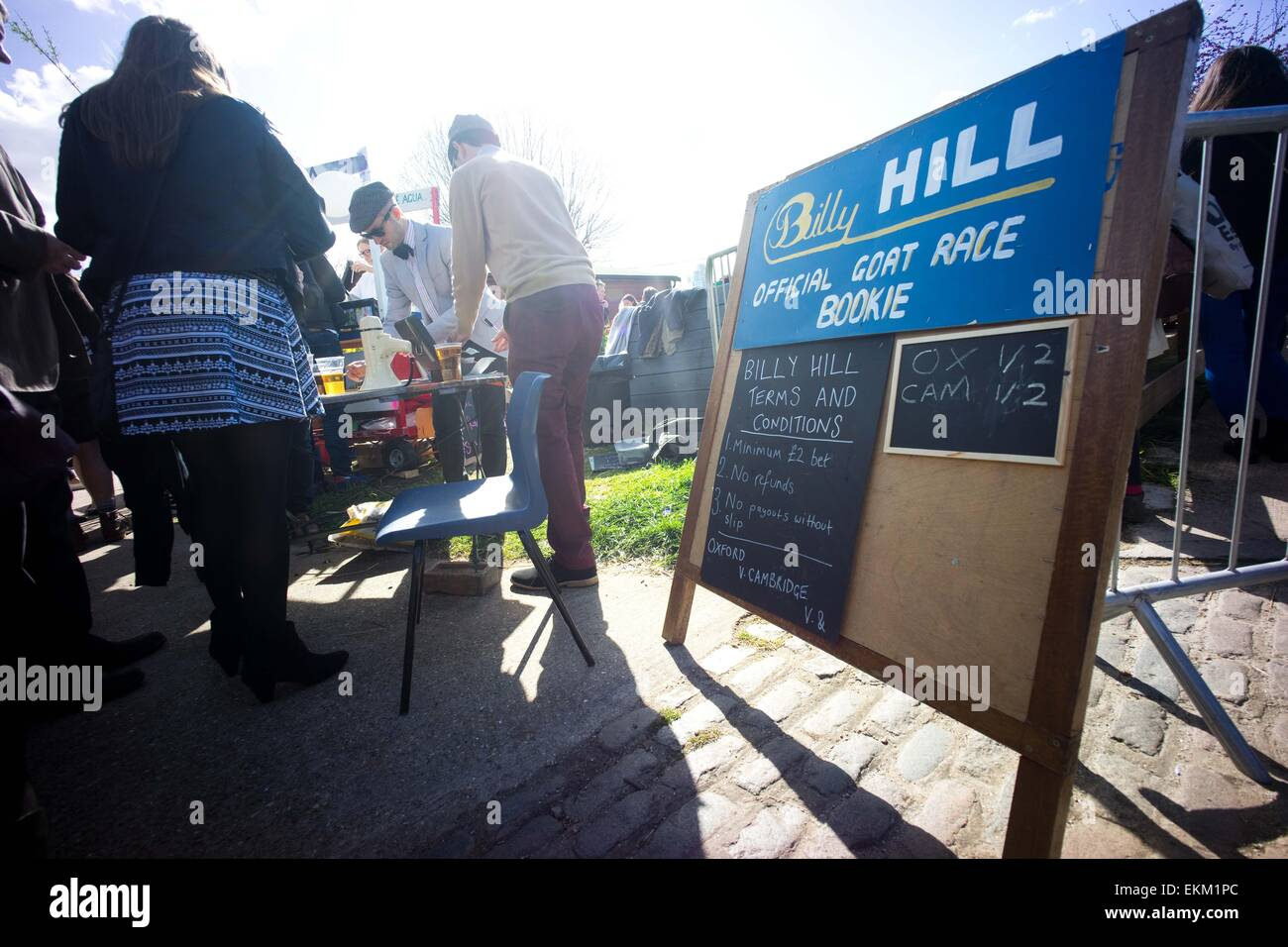 London, United Kingdom. 11th Apr, 2015. A betting station seen at the goat race. Annual goat racing event hosted - Stock Image