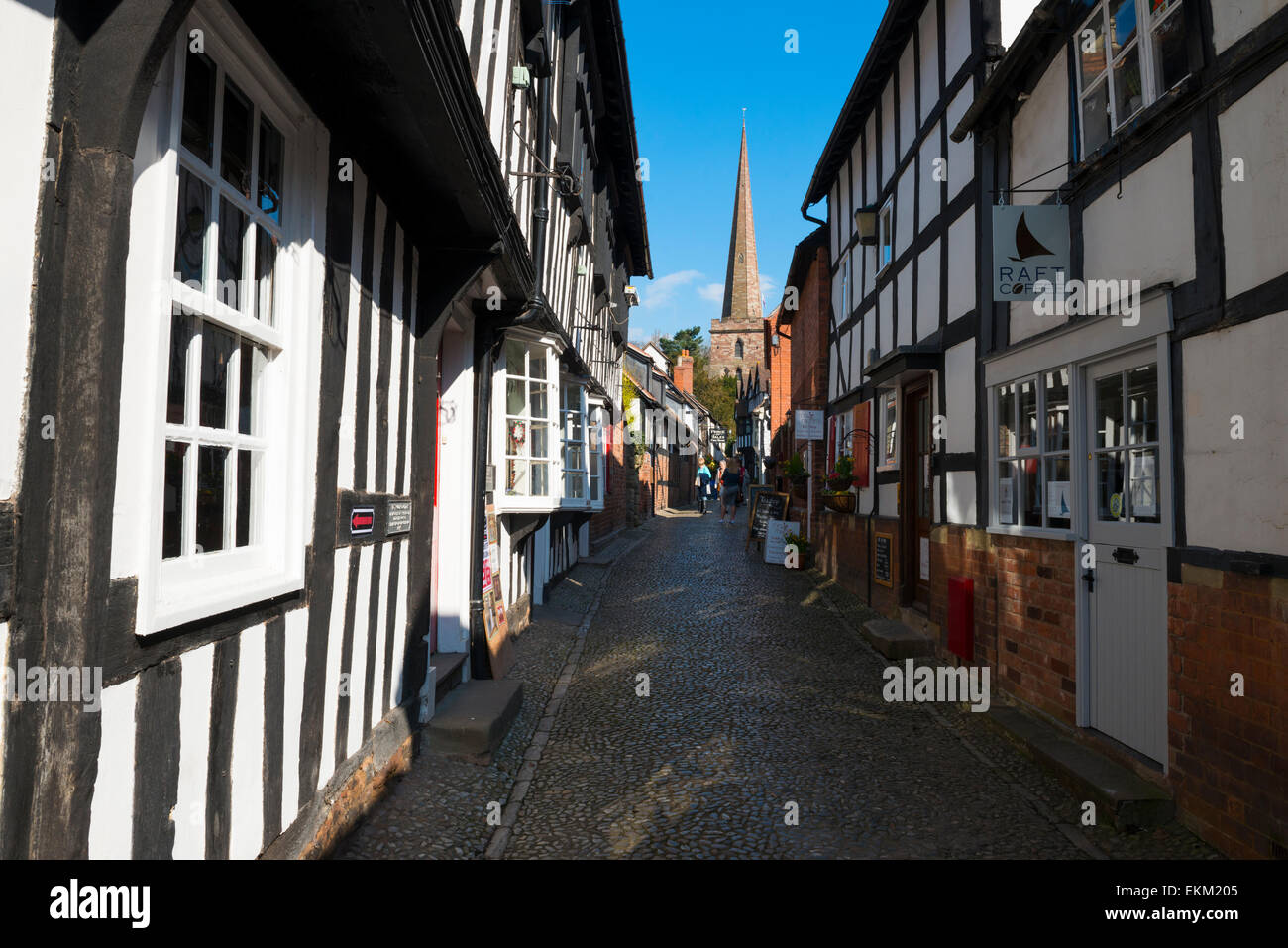 Historic Church Lane leading to St Michael and All Angels church in Ledbury, Herefordshire, England. - Stock Image