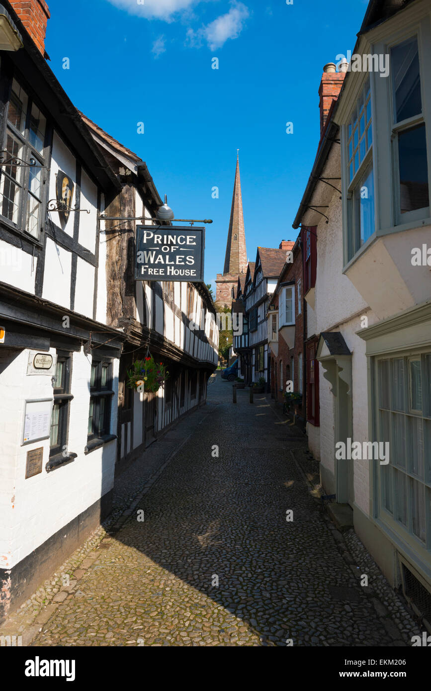 Church Lane leading to St Michael and All Angels church in Ledbury, Herefordshire, England. - Stock Image