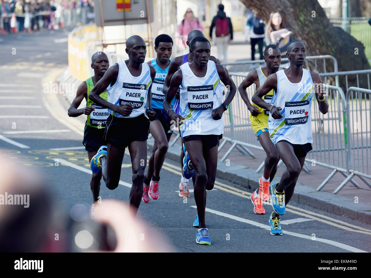 Brighton, UK. 12th April, 2015. Early pace setters in the mens race in the Brighton Marathon today  Credit:  Simon - Stock Image