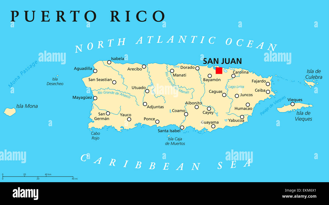 Puerto Rico Political Map Stock Photo 80964409 Alamy