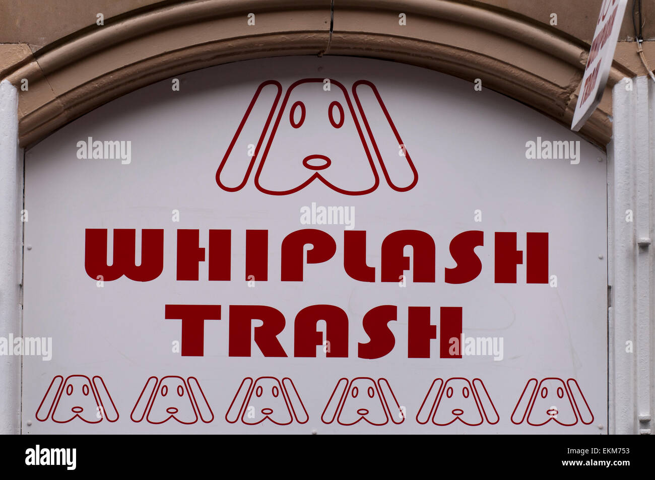 Whiplash Trash, a tattoo and piercing parlour. - Stock Image