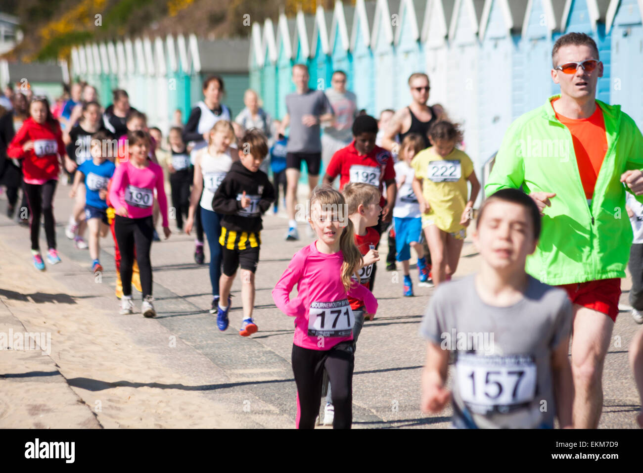 Bournemouth, UK. 12th April, 2015. Children and parents taking part in the 1k children fun run/family friendly run, - Stock Image