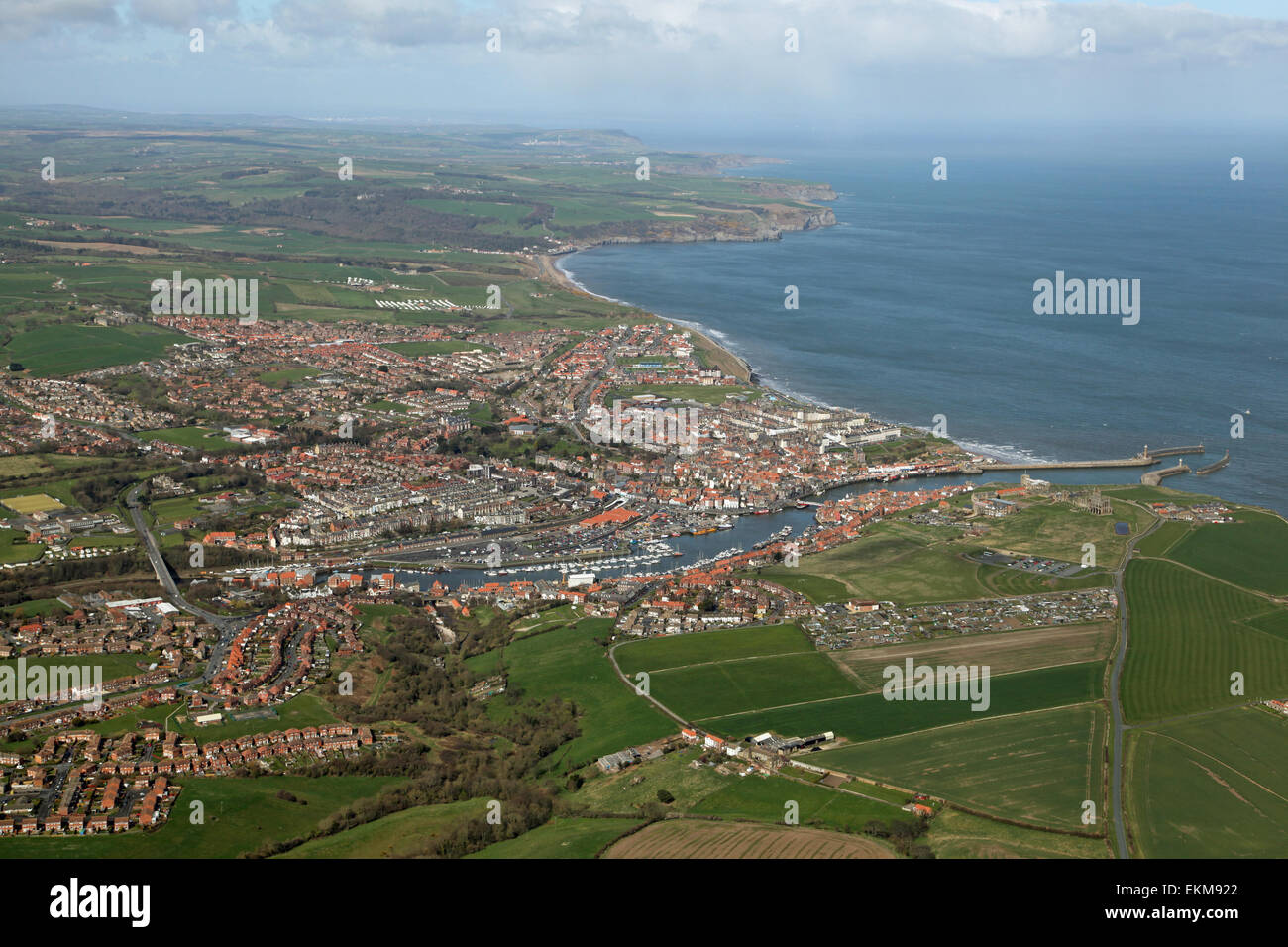 aerial view of Whitby and the North Yorkshire Coast, England, UK - Stock Image