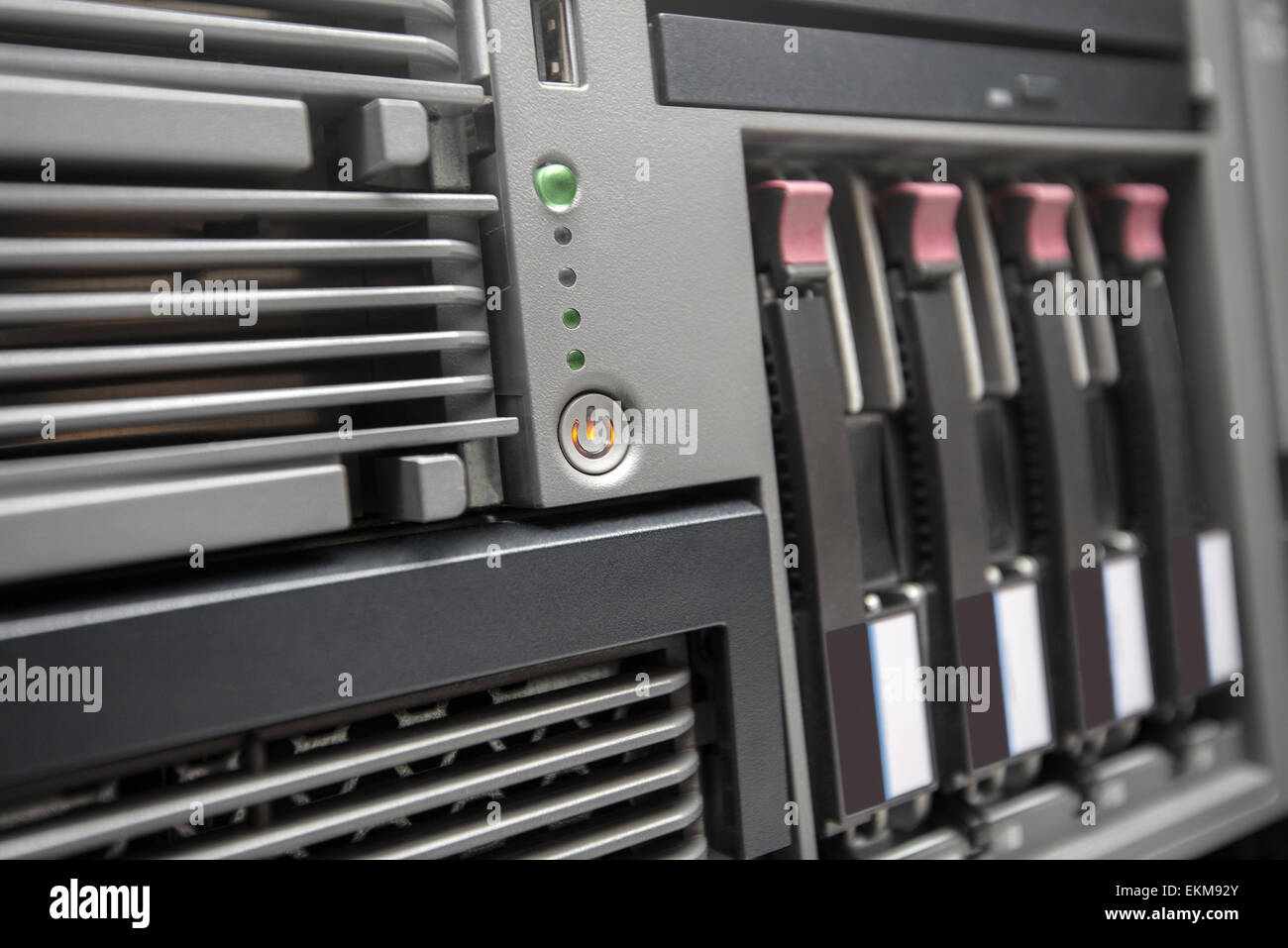 Network Server with Hot Swap Hard Drives installed in a rack - Stock Image