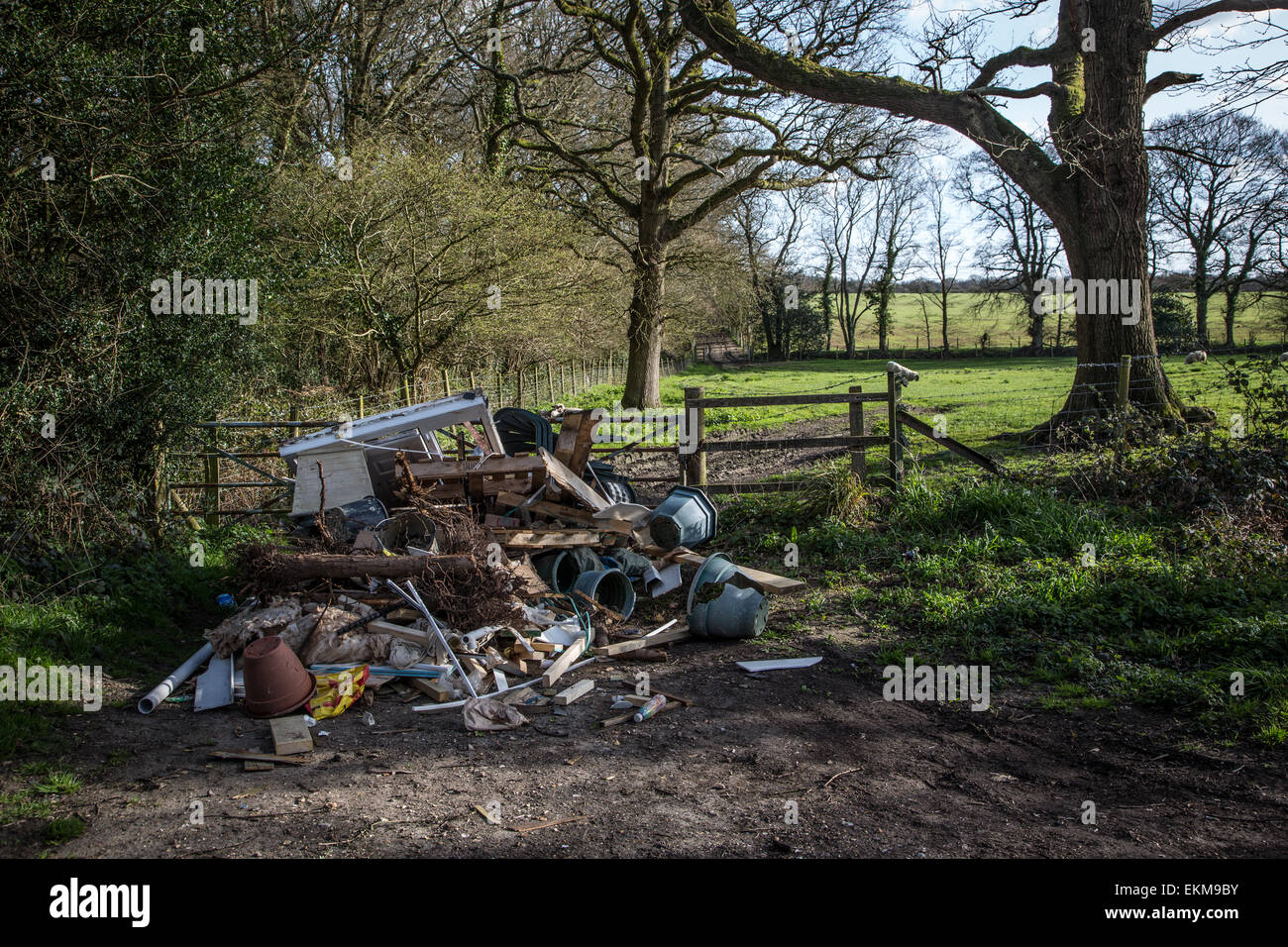 Fly-tipping in the Countryside - Stock Image