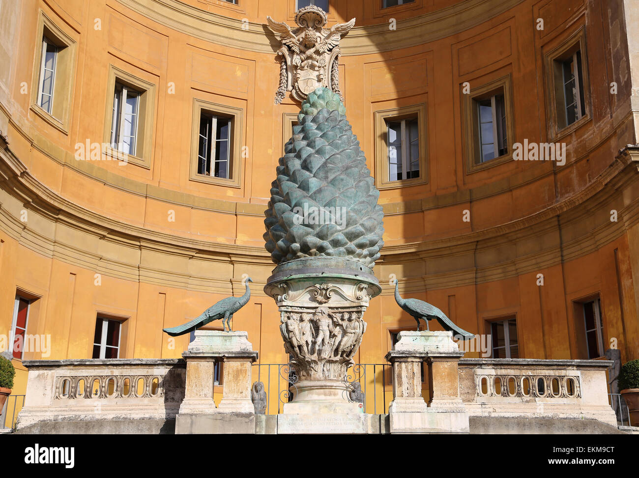 Vatican city. Vatican Museums. Pine cone Sculpture pine cone. 1st or 2nd C. by Publius Cicius Salvius. Bronze. Courtyard. - Stock Image