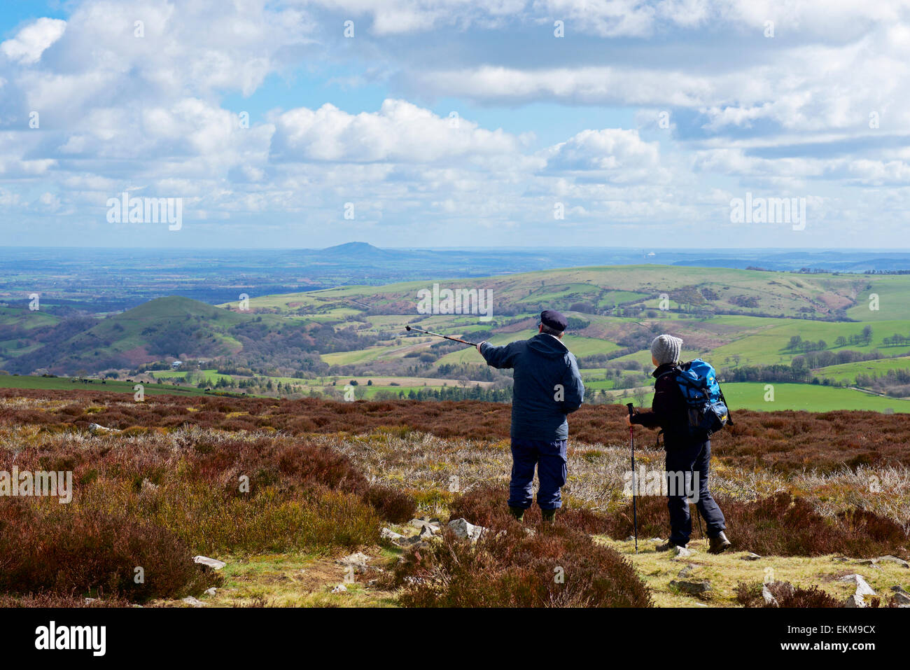 Two walkers in the Shropshire hills, England UK - Stock Image