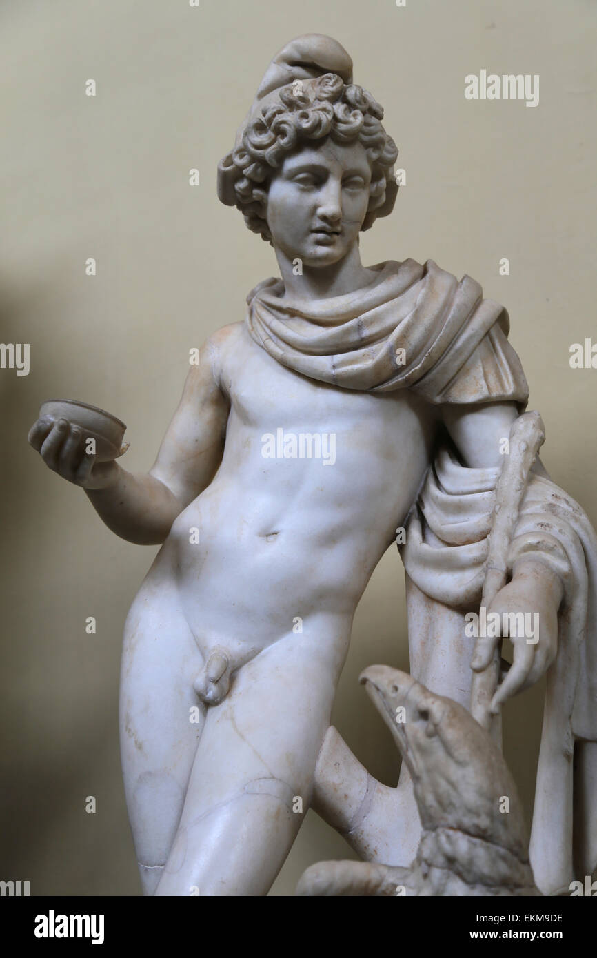 Ganymede and the Eagle. Marble. 2nd century AD. Vatican Museums. Chiaramonti. - Stock Image