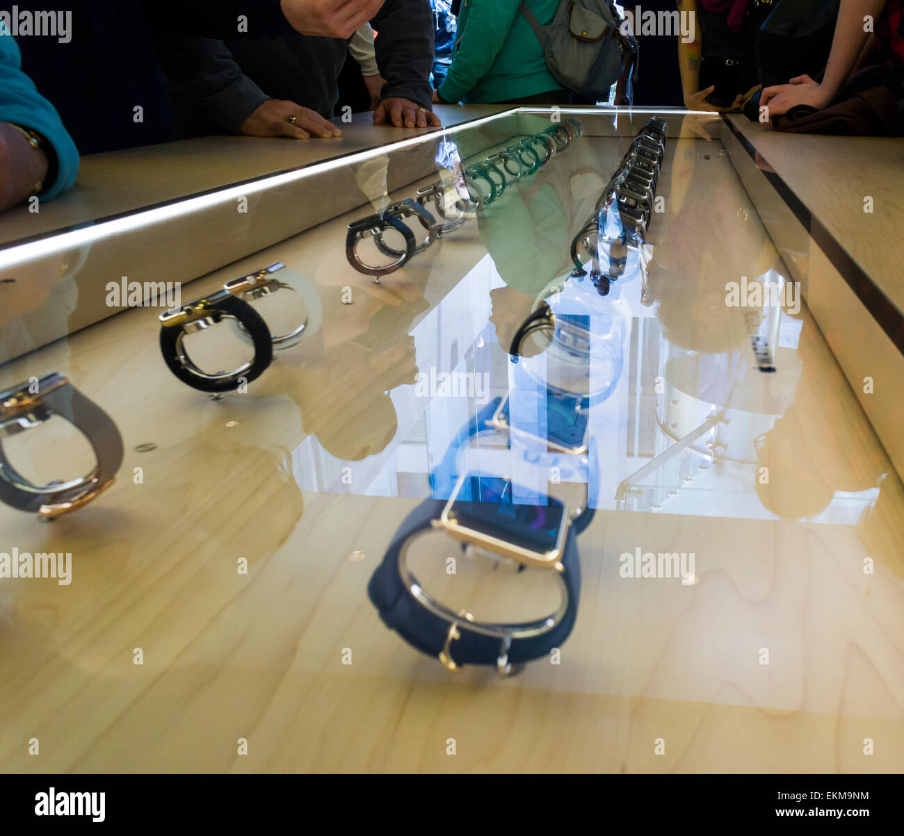 New York, USA. 12th April, 2014. A vitrine of display Apple Watches in an Apple Store in New York on Saturday, April - Stock Image
