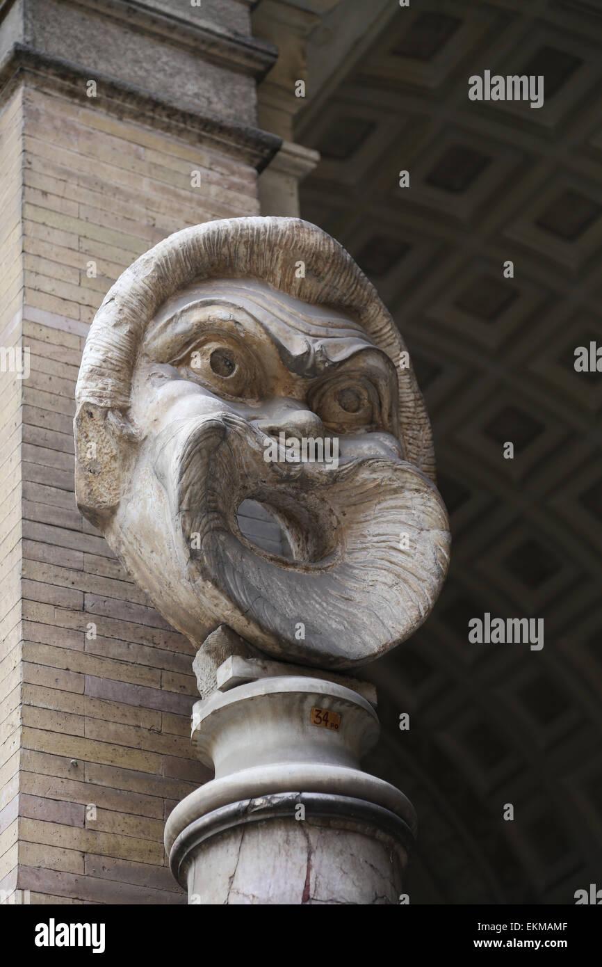 Roman art. Giant mask. Octagonal court. Vatican Museum. - Stock Image