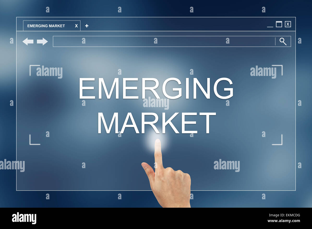 hand press on emerging market button on webpage Stock Photo