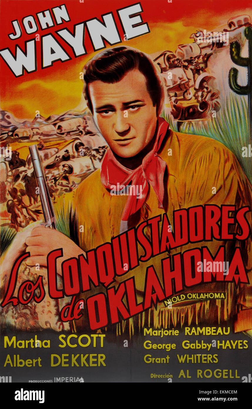 Old Spanish film poster of 'In Old Oklahoma' a 1943 American Western film starring John Wayne - Stock Image