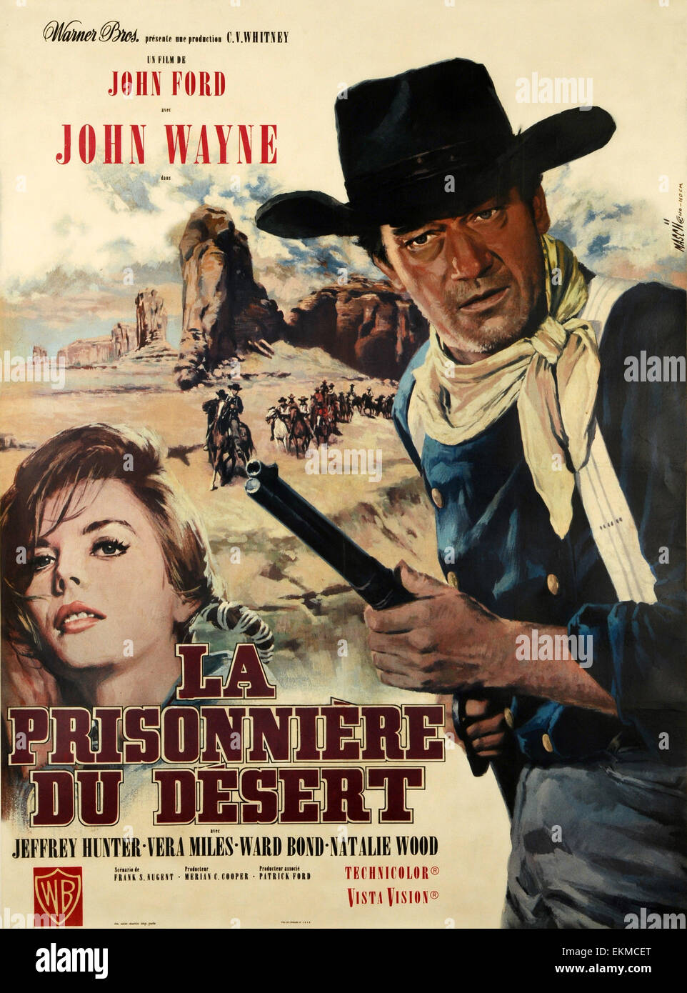 Old French movie poster of 'The Searchers' a 1956 American Technicolor VistaVision Western film directed - Stock Image
